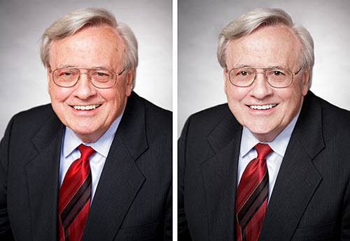 Executive headshot before and after